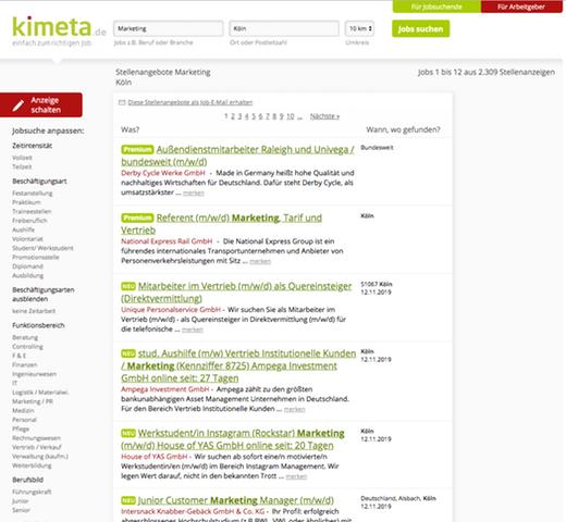 Suchergebnisse für Marketing Jobs in der Nähe Kölns auf Kimeta