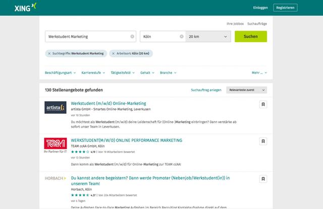 Suchergebnisse für Marketing Jobs in der Nähe Kölns auf Xing