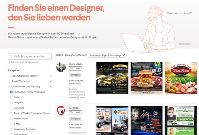 Ein Screenshot der 99designs Website, auf denen die verschiedenen Grafik-Designer ihr Portfolio präsen?ieren.