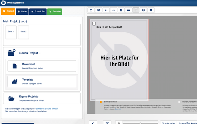 Ein Screenshot der online-druck.biz Website.